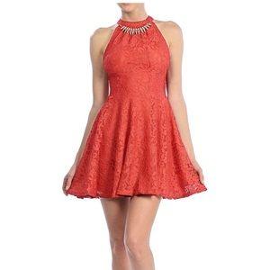 Womens Halter Sleeveless Floral Lace Skater Dress